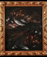 Olasz barokk csendélet macskával, Giuseppe Recco művésznek tulajdonítják