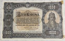 1000 korona 1920 - ragasztott!