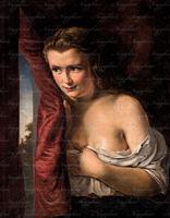 Olaj vászon festmény Várakozás 19 század