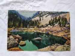 Antik képeslap Szlovénia Triglav tó, fenyves, hegyek 1918