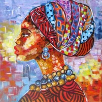B.Tóth Irisz- AFRIKA SZÍNEI -ABSZTRAKT festmény 40x40cm