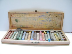 Vintage Schmincke pasztel fadobozban