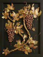 Szőlő, Festett dombormű, gipsz fára, 41 cm x 55 cm