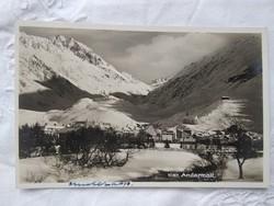 Vintage képeslap/fotólap Svájc, Andermalt havas táj, hegyek