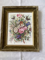 Beautiful hand painted porcelain image of rare pieces in green velvet frame.