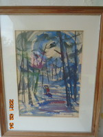 Famous French painter is a beautiful work (walking in the woods) masterpiece from 1944