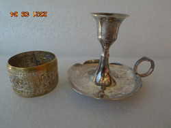 Very nice silver walking candlestick and an antique napkin ring