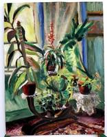 Retro interior, expressive, marked painting