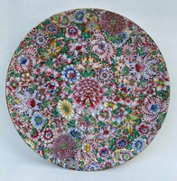 Large Chinese famille rose rose painted and marked on bowl plate 32 cm. China
