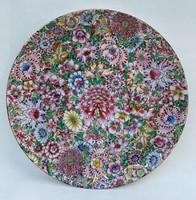 Nagy Kínai Famille Rózsa Rose Festett és Jelzett Tál Tányér 32 cm. Kína