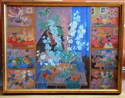 LAKI Ida (1921-2015) festmény, olaj farost, kerettel 68 x 86 cm, jjl., Laki