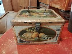 Fém bonbonos doboz, antik bonbonos, kekszes doboz, dekoráció
