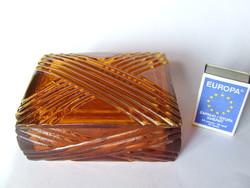 Old amber heavy glass lid box, bonbonier