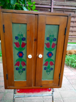 Old hand-painted small wardrobe, closet, baby furniture