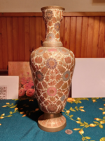 Large richly decorated Indian copper vase with enamel painting (gb16 / 1-3)