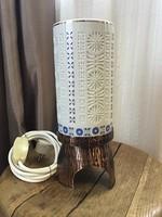 Régi iparművészeti asztali lámpa porcelán búrával