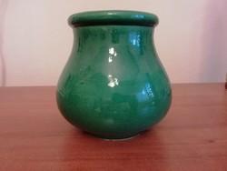 Antik Zsolnay hasas kis zöld kaspó