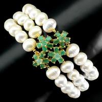 Genuine emerald true pearl 925 silver repellent