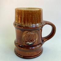 Retro vintage old marked big glazed ceramic mug beer mug Zilina Zolnay