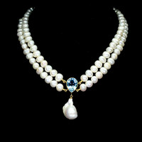 Genuine blue topazl and true pearl 925 silver necklace