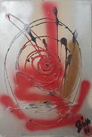 With illegible sign (bin?): Abstract (red)