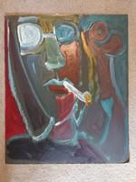 Miklós Németh painting, 52x63, oil, thick cardboard, straight!