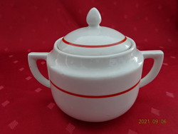 Zsolnay porcelain sugar bowl with antique shield seal and red stripe. He has!