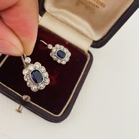 Beautiful antique brill and sapphire stone white gold earrings!