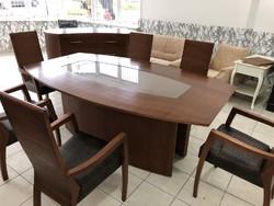 Art deco stílusú tömör fából készült szék, asztal és komód