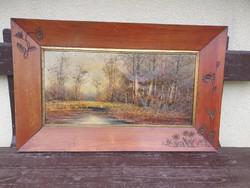 Pogány Ferenc olajfestmény vásznon, festmény 63x31cm, kerettel 83x51 cm