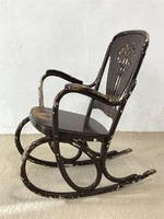 Antique marked thonet bent wooden rocking chair with Art Nouveau pattern