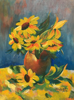 Still life with sunflowers - acrylic painting