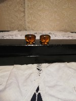 Old silver polish amber stone cufflinks for sale!