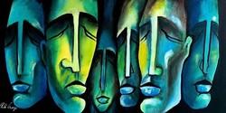 Pető bells ++ 80x40 director board ++ modern figural ++ acrylic painting