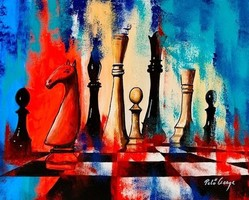 Egg ring ++ 50x40 chess matte ++ modern abstract ++ acrylic painting