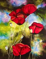 Egg bell ++ 50x40 poppy bouquet ++ modern flower still life ++ acrylic painting