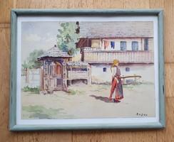 Jelzett (DARVAS) AKVARELL FESTMÉNY