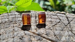 New amber earrings marked silver