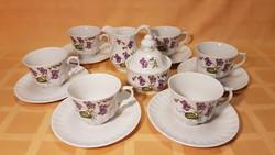 Szépség! Bavaria Wunsiedel 6 teás/kávés csésze+ 6 alátét, cukortartó, tejkiöntő hibátlan állapot