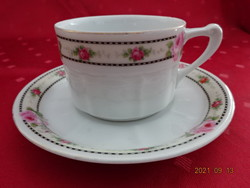 Czechoslovak porcelain teacup + placemat, antique, rose pattern. He has!