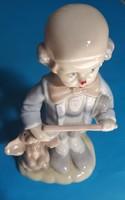 Porcelán , Síró bohóclány  kutyáva(Lladro?)