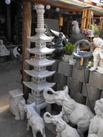 Ritka 185cm  Nagy Japán kertépítő Kő lámpa  Feng Shui  kerti tó pagoda torony műkő szobor