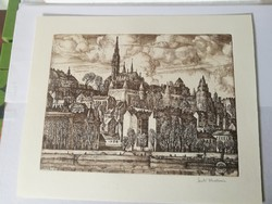 Etching of Vladimir Szabó from Pest entitled Castle