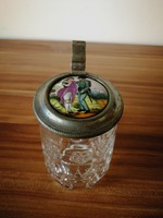 Német biedermeier söröskorsó ón fedéllel, festett porcelán betéttel.