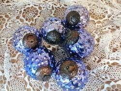Különleges kék színű üveg karácsonyfadísz gömbök