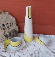 Retro Hollóházi 4 db-os art deco sárga fehér fekete  Asztali szett váza, bonbonier  stb.