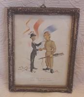 II. világháború végi karikatúra, színes nyomat, litográfia