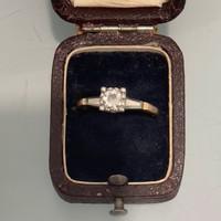 1 Forintról! Arany Briliáns gyűrű 14 és 18 karát kombinációja, kb. 0,5 karát jó minőségű briliánssal