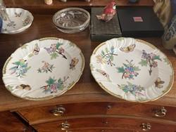 1 Forintról! 1917-ből 2 db Eredeti Viktória mintás Ó Herendi porcelán lapos tányér