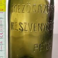 """""""Mezőgazdasági Részvénysörgyár Pécs 0.45l"""" olajzöld sörösüveg (1256)"""